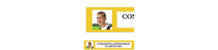 Custom Classic Yellow Graduation Photo Banner