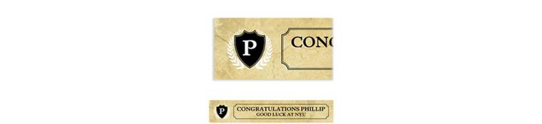 Custom Gold Stone Initial Graduation Banner