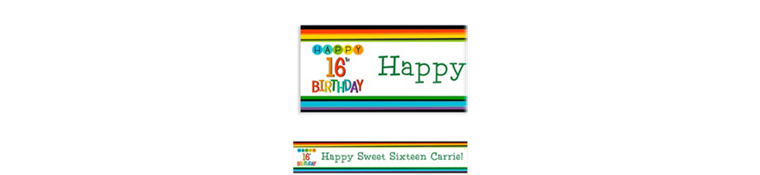 Custom Rainbow 16th Birthday Banner