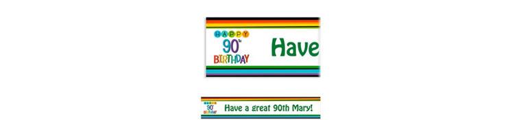 Custom Rainbow 90th Birthday Banner
