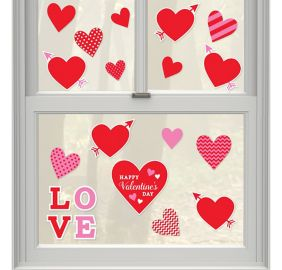 valentines day window cling decals 20ct