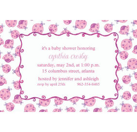 pink ladybugs baby shower invitations thank you notes party city