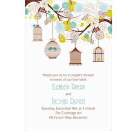 Custom Lovebird Cages Bridal Shower Invitations Amp Thank You Notes