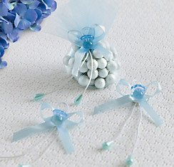 Blue Pacifier Baby Shower Favor Ties 6ct