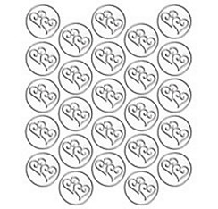 Silver Heart Metallic Envelope Seals 25ct