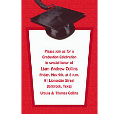 Custom Red Congrats Grad Invitations