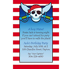 Pirate Party Stripe Custom Invitation