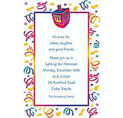 Watercolor Dreidel Custom Invitation
