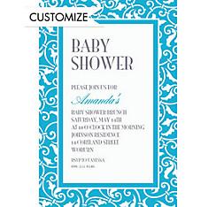 Caribbean Blue Ornamental Scroll Custom Invitation