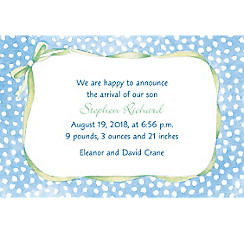 Custom Blue Polka Dots with Bow Birth Announcements