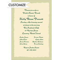 Sage Deckle Edge/Ecru Custom Invitation