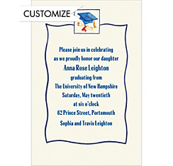 Blue Simple Mortarboard Custom Graduation Invitation