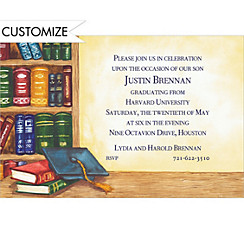 Blue Graduate's Library Custom Graduation Invitation