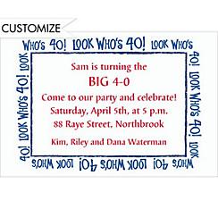 Look Who's 40! Custom Invitation