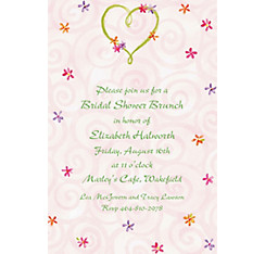 Heart with Flowers Custom Wedding Invitation