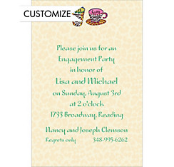 His and Hers Coffee Mugs Custom Wedding Invitation