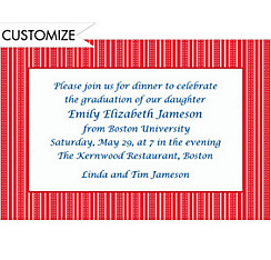 Bright Red Ticking Stripe Custom Invitation