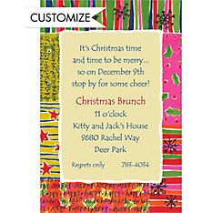 Fun Christmas Pattern Custom Invitation