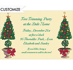 Christmas Topiary Custom Invitation