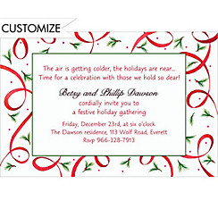 Ribbon with Pine Sprigs Custom Christmas Invitation