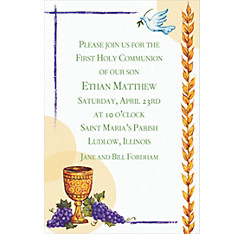 Chalice with Dove and Grapes Custom Invitation