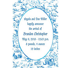 Old MacDonald Toile Custom Birth Announcements