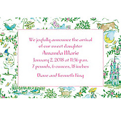 Fairytale Toile Custom Birth Announcements