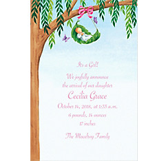 Tree Branch with Leaf Cradle Custom Birth Announcements