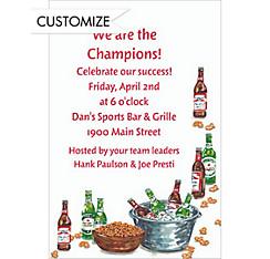 Beer Bottles and Pretzels Custom Invitation