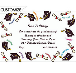Black Tossed Grad Caps Custom Graduation Invitation