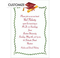 Crimson Mortarboard & Ivy Custom Graduation Invitation