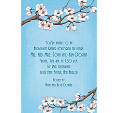 Pink Cherry Blossoms Custom Invitation