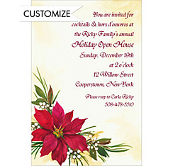 Poinsettia & Berries Custom Christmas Invitation