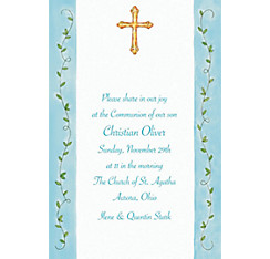 Filigree Cross with Vines Custom Invitation