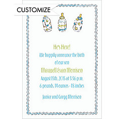 Little Boy Bottles Custom Birth Announcements