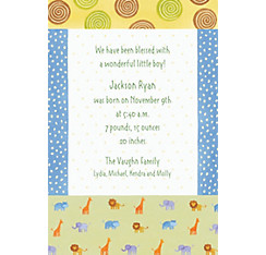 Custom Jungle Animal Patchwork Birth Announcements