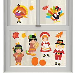Vinyl Thanksgiving Window Decorations 13ct