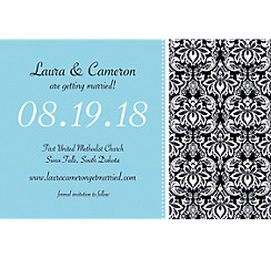 Decorative Damask Teal Custom Invitation