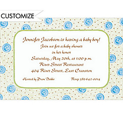 Blue Buttons Custom Baby Shower Invitation