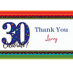 A Year to Celebrate 30 Custom Thank You Note