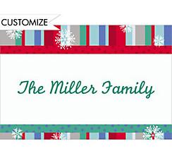 Cool Winter Stripe Custom Christmas Thank You Note