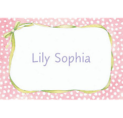 Pink Polka Dots & Bow Custom Baby Shower Thank You Note