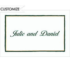 Green & Gold Lines/White Custom Thank You Note