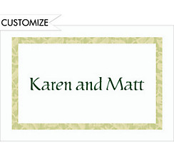 Narrow Sage Damask/White Custom Thank You Note