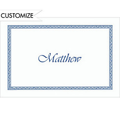 Blue Tapestry Border Custom Thank You Note