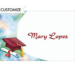 Red Mortarboard and Swoosh Custom Thank You Notes