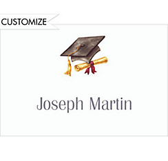 Custom Black Cap & Diploma Graduation Thank You Notes