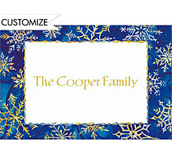 Shimmery Snowflakes Custom Christmas Thank You Note