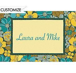 Green Retro Blossoms Custom Thank You Note