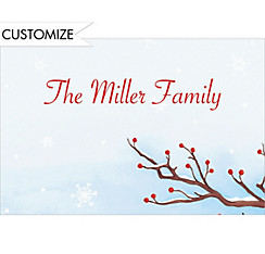Serene Winter Branch Custom Christmas Thank You Note